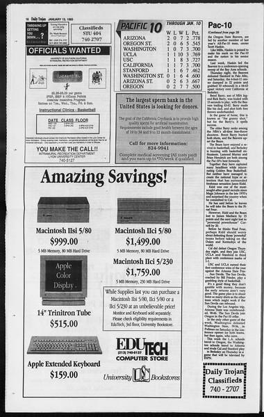 Daily Trojan, Vol. 119, No. 2, January 13, 1993