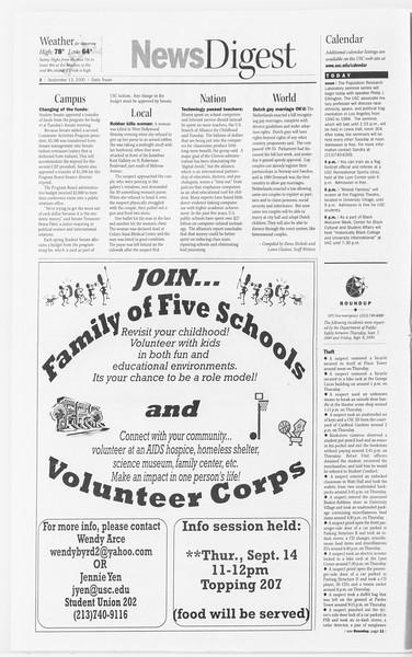 Daily Trojan, Vol. 141, No. 11, September 13, 2000