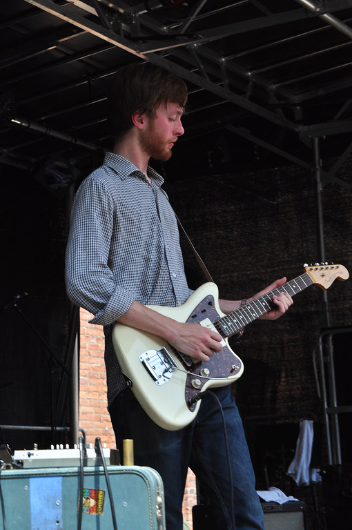. Jack Guerino/ North Adams Transcript Hayden Holbert plays a guitar solo during The Blisters performance Sunday afternoon during the last day of performances at the Solid Sound Festival.