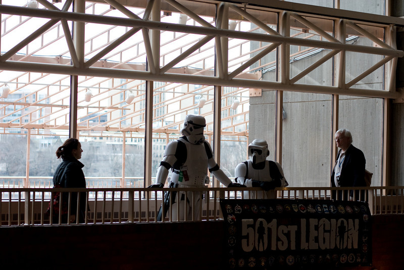 Stormtroopers checking out the lobby from the balcony.