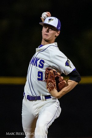Holly Springs baseball senior Matt Wildness pitches in the Bobby Murray Invitational at Holly Springs High School. April 18, 2019. D4S_8309