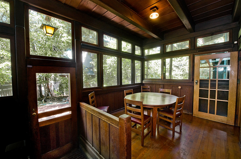 . Servants porch and dining area at Gamble House Tuesday, January 16, 2016. Fans of the BBC�s �Upstairs/Downstairs� and �Downton Abbey� can get a rare, behind-the-scenes look at the real deal when the Gamble House, located at  4 Westmoreland Place in Pasadena. The Gamble House opens up its servants quarters for three weeks only, beginning Aug. 1. The tour is based on new findings about the Gamble family and its servants. Part of the first floor will be closed on the tour due to renovations.(SGVN/Photo by Walt Mancini)