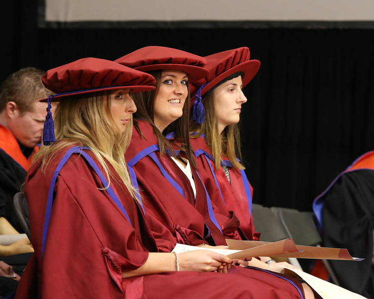 Pictured are Elaine Alyward, Kilkenny, Anne Marie Ivers, Kildare and Niamh Owens, Waterford, who were conferred a Doctor of Philosophy . Picture: Patrick Browne