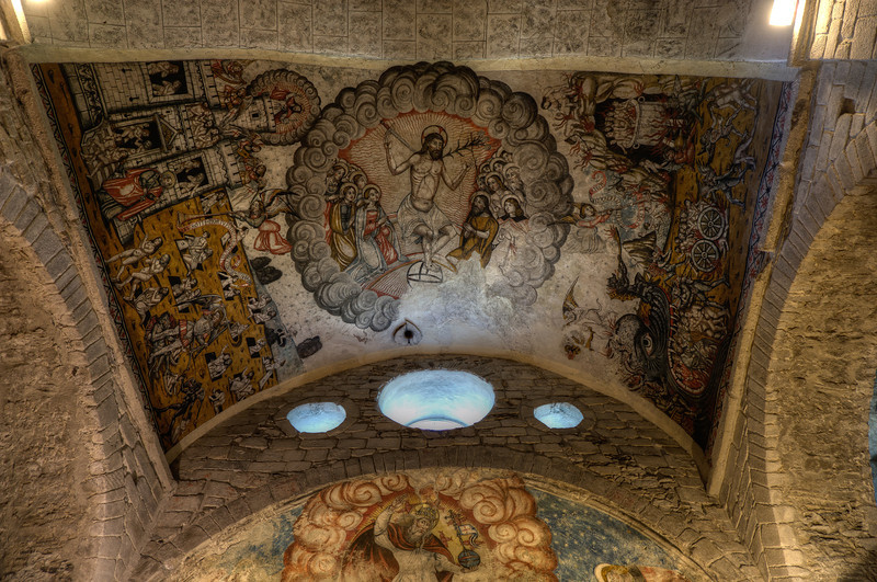 Religious fresco on the ceiling of Iglesia de San Miguel in Vielha, Val d' Aran, Catalonia, Spain