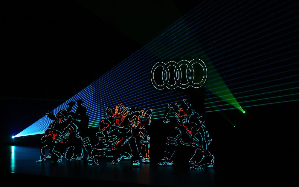 Description of . Members of the dance group Wrecking Crew perform at the 2014 AUDI CES Keynote presentation at The Chelsea at The Cosmopolitan of Las Vegas on January 6, 2014 in Las Vegas, Nevada.  (Photo by Gabe Ginsberg/Getty Images for Audi)
