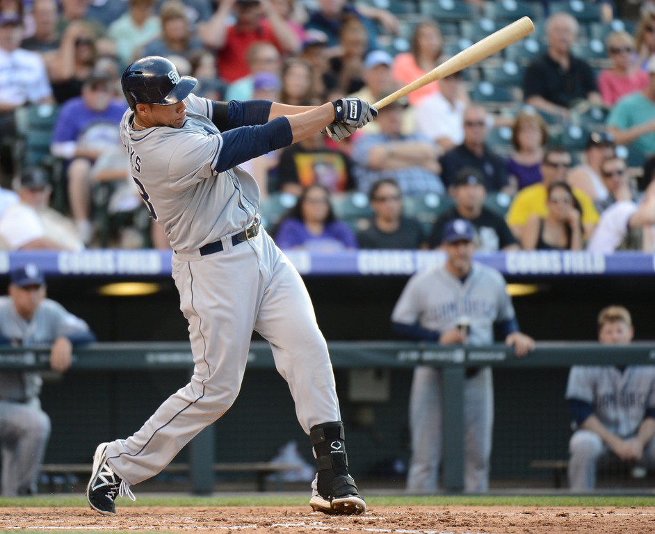 . Denver, CO. - June 08: Kyle Blanks of San Diego Padres (88) hit 2 run home run from Jeff Francis of Colorado Rockies (26) in the 4th inning of the game at Coors Field. Denver, Colorado. June 8, 2013.  (Photo By Hyoung Chang/The Denver Post)