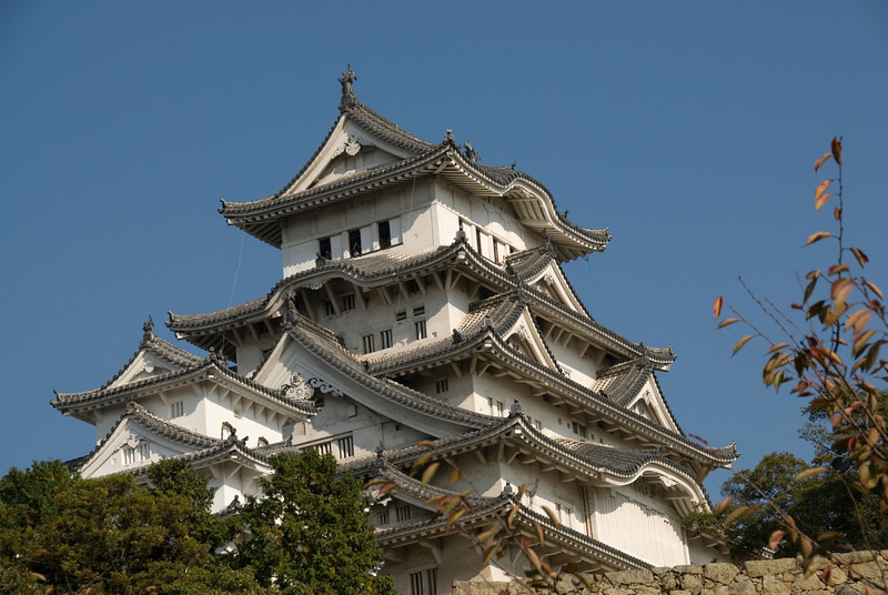 Architectural details of Himeji Castle in Japan