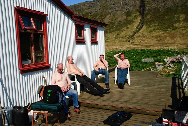 Slappað af. Stígur Stígsson, Rikki og Hreiðar