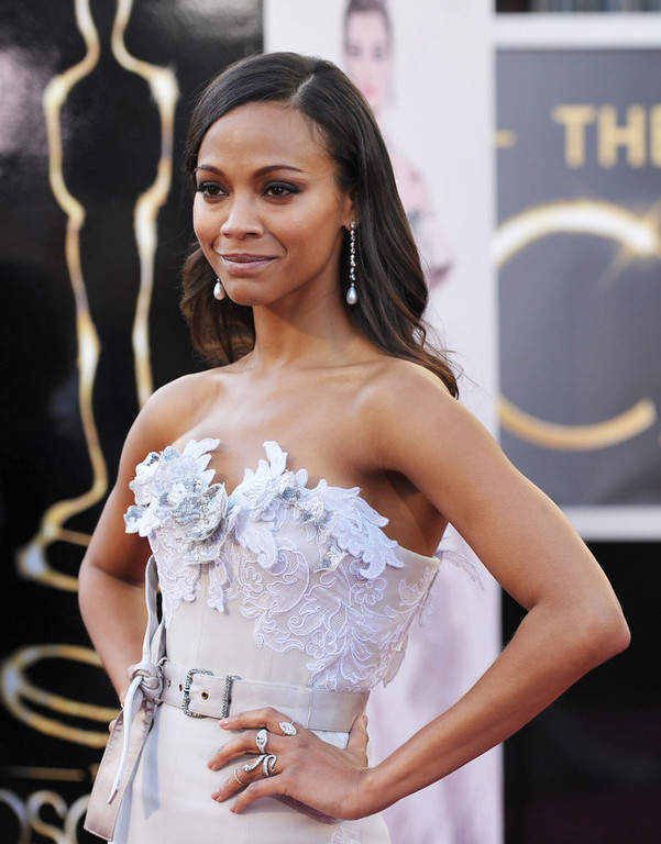 . Actress Zoe Saldana arrives at the 85th Academy Awards at the Dolby Theatre on Sunday Feb. 24, 2013, in Los Angeles. (Photo by John Shearer/Invision/AP)