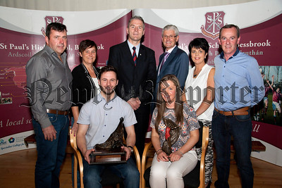 Recipients of the inaugural St Paul's Ambassador Award, Aoife Malone and her parents Damien and Joanne Malone, Peter Hughes and his parents Peter and Sharon Hughes,pictured with Principle Jarleth Burns,John Campbell.R1438712