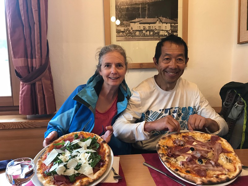 Pizza for lunch in St. Moritz
