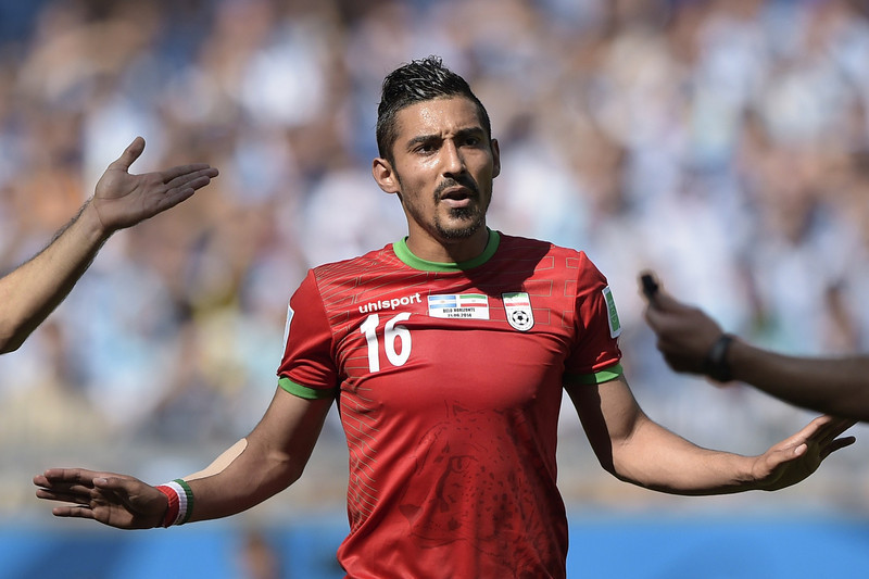 . Iran\'s forward Reza Ghoochannejhad gestures during a Group F football match between Argentina and Iran at the Mineirao Stadium in Belo Horizonte during the 2014 FIFA World Cup in Brazil on June 21, 2014. (JUAN MABROMATA/AFP/Getty Images)
