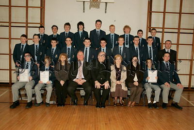 St Colmans College Junior prizegiving. Pictured with the platform party led by Principal Dr Francis Brown are pupils who wrer placed first place in class in the internal school examinations.