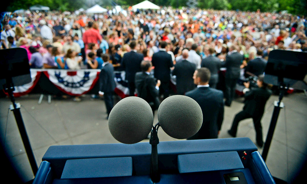. President Barack Obama greets the crowd after following his speech at the Lake Harriet Bandshell. (Pioneer Press: Ben Garvin)