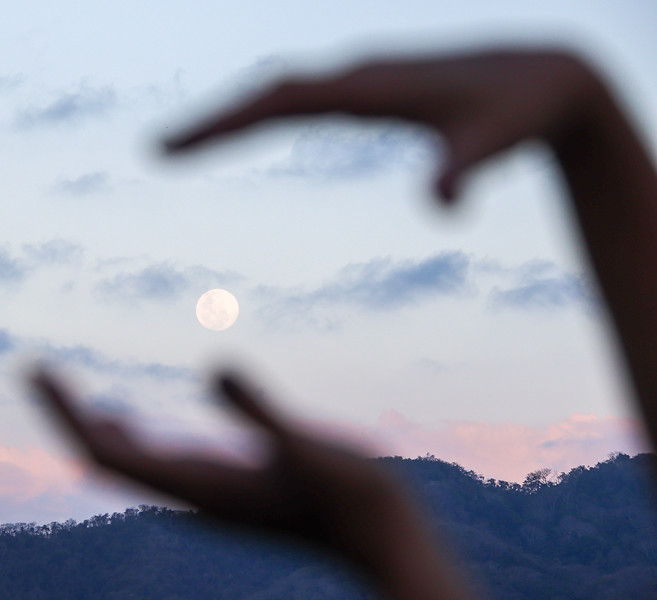 Female Hands Grabbing the Moon