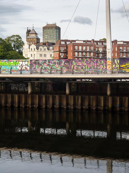 Cardiff riverside cityscape