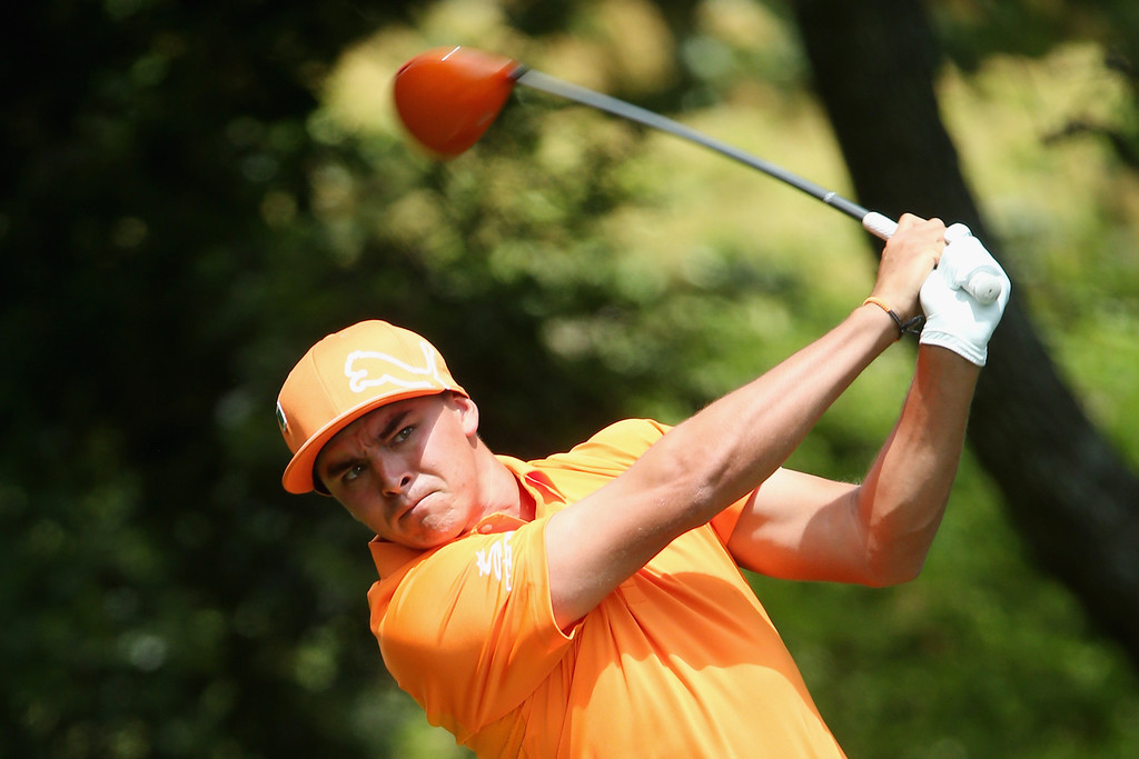 . Rickie Fowler of the United States hits his tee shot on the second hole during the final round of the 2014 Masters Tournament at Augusta National Golf Club on April 13, 2014 in Augusta, Georgia.  (Photo by Andrew Redington/Getty Images)