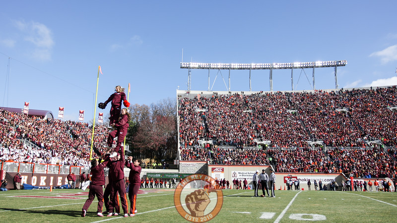 The Virginia Tech cheerleaders perform for the crowd during a media timeout. (Mark Umansky/TheKeyPlay.com