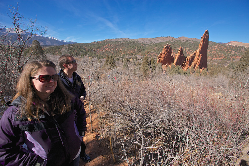 At the Garden of the Gods park, Pikes Peak in left background.
