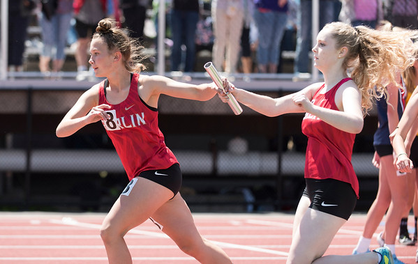 06/03/19 Wesley Bunnell   Staff The CIAC held their open track and field state open at Willow Brook Park on Monday afternoon. The Berlin girls compete in the 4x800 meter relay.
