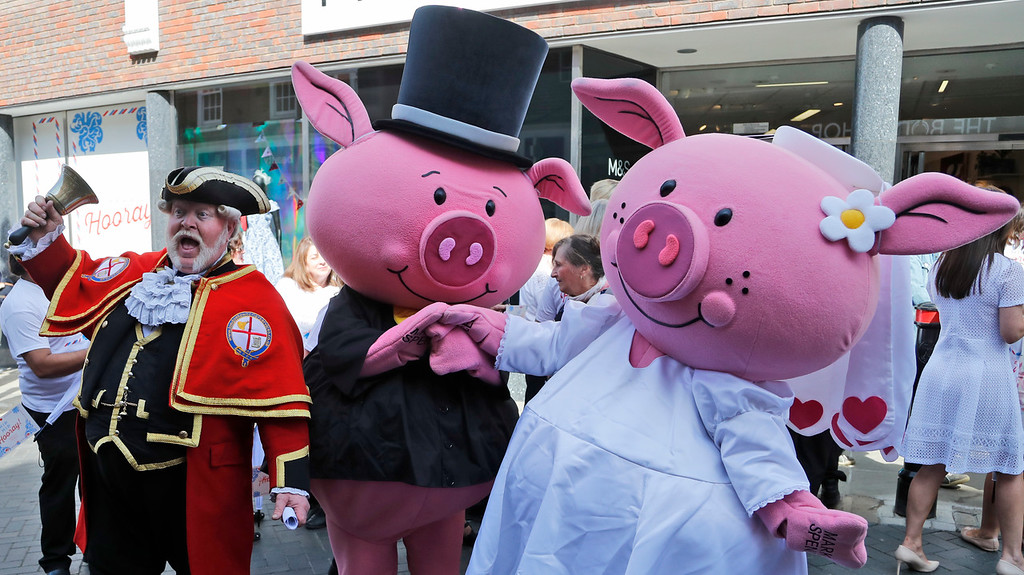 . A cryer and a pig wedding couple advertises the renaming of Marks and Spence store into Markle and Sparkle store in Windsor, Friday, May 18, 2018. Preparations are being made in the town ahead of the wedding of Britain\'s Prince Harry and Meghan Markle that will take place in Windsor on Saturday May 19.(AP Photo/Frank Augstein)