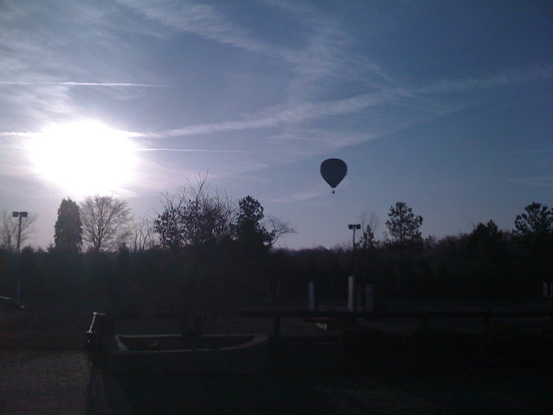 Hot Air Balloon & Sunrise over Cedarhill Farm Show Grounds