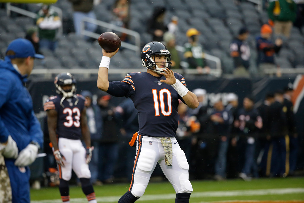 . Chicago Bears quarterback Mitchell Trubisky (10) warms up before an NFL football game against the Green Bay Packers, Sunday, Nov. 12, 2017, in Chicago. (AP Photo/Nam Y. Huh)