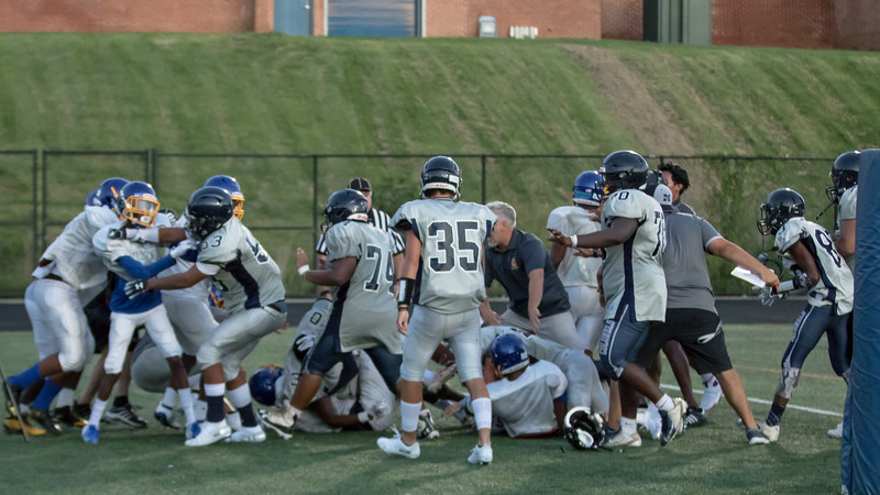 August 29, 2019 - The scrimmage between Gaithersburg and Magruder ended early due to a large bench-clearing fight. Photo by Mike Clark/The Montgomery Sentinel