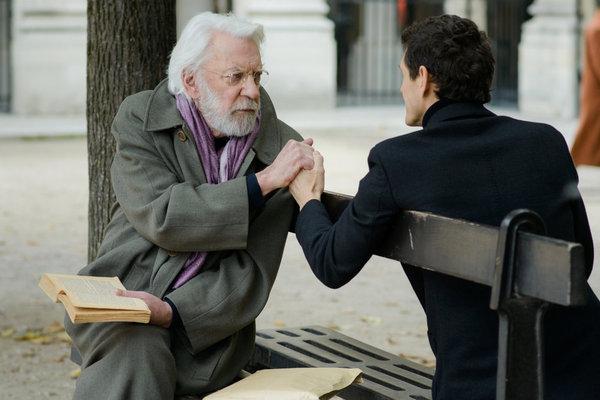 ". CROSSING LINES -- \""Pilot - Part II\"" Episode 102 -- Pictured: (l-r) Donald Sutherland as Dorn, Marc Lavoine as Louis Bernard -- (Photo by: Etienne Chognard/Tandem)"