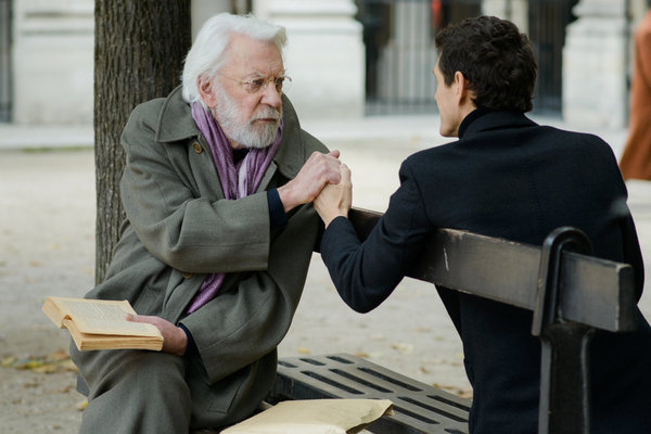 ". CROSSING LINES -- ""Pilot - Part II\"" Episode 102 -- Pictured: (l-r) Donald Sutherland as Dorn, Marc Lavoine as Louis Bernard -- (Photo by: Etienne Chognard/Tandem)"