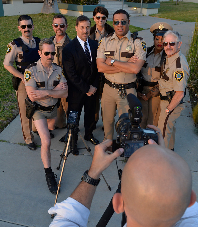 . The cast of Reno 911 filmed a TV promo for sheriff\'s candidate Todd Rogers in Carson CA. Thursday March 27,  2014. The show was filmed at the Carson station when Rogers was a captain there. This is the first reunion for the cast of Reno 911 since the last show in 2009. (Thomas R. Cordova-Daily Breeze/Press-Telegram)