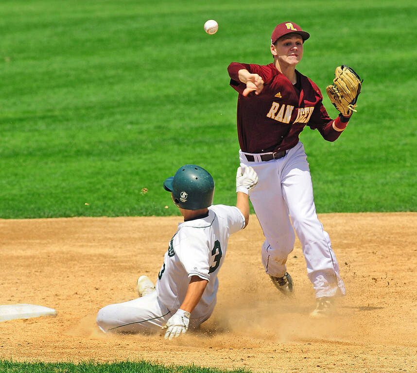 . Mounds View base runner Joe Janey is forced out at second base by Forest Lake shortstop Dylan Dresel, who makes the throw to first for the double play to end the sixth inning.  (Pioneer Press: Scott Takushi)