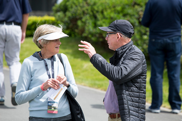 Margaret Fairhall and John Shewan discussing the finer points of golf on the 2nd day of competition  in the Asia-Pacific Amateur Championship tournament 2017 held at Royal Wellington Golf Club, in Heretaunga, Upper Hutt, New Zealand from 26 - 29 October 2017. Copyright John Mathews 2017.   www.megasportmedia.co.nz