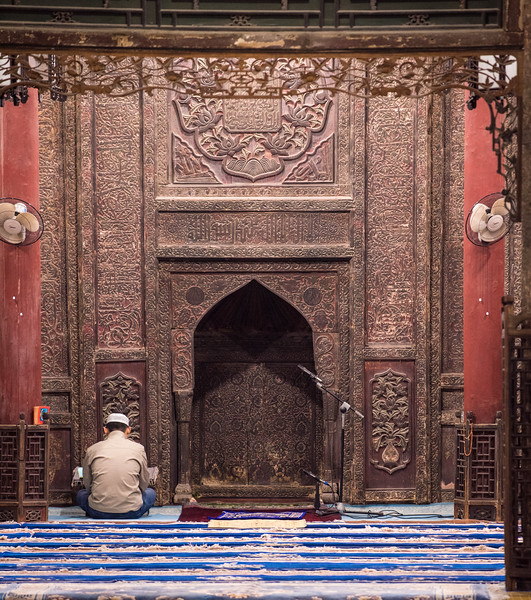 Still in the Grand Mosque.  I took a picture of a different guy that I thought was reading a prayer, but it turned out he was looking at his cellphone.