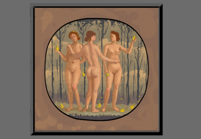 Yet another iteration of my Three Graces painting; still in the sketch mode