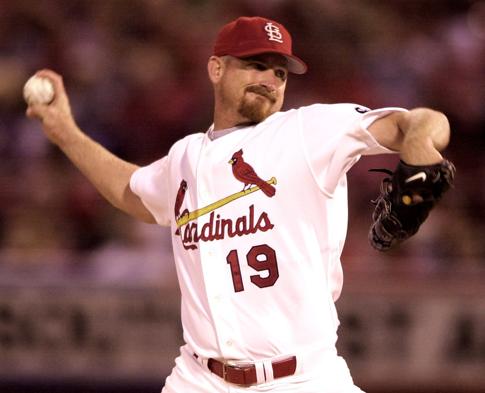 . WOODY WILLIAMS -- St. Louis Cardinals starting pitcher Woody Williams pitches during the first inning against the Houston Astros in St. Louis on Sept. 20, 2002. (AP Photo/James A. Finley)