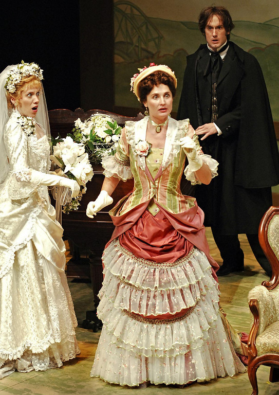 ". Jenni Kirk, Adrienne Dreiss and J. Todd Adams in Shakespeare Santa Cruz\'s 2005 production of ""Engaged.\"" (Photo courtesy of Steve DiBartolomeo, SSC)"