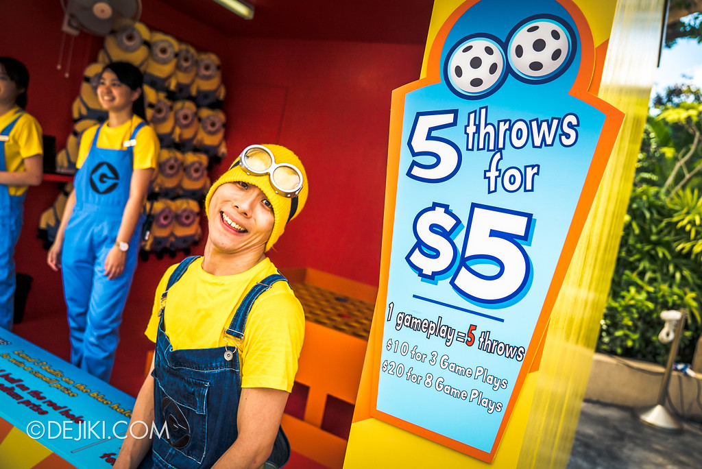 Despicable Me Breakout Party at Universal Studios Singapore / Minion Mishap game booth with a Minion