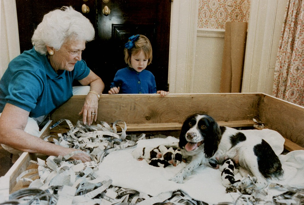 . FILE--First lady Barbara Bush and her granddaughter, Marshall Lloyd Bush, visit with first dog Millie and her six puppies in the residence of the White House on March 18, 1989. Millie, a springer spaniel who was ``first dog\'\' in the Bush White House and namesake of a book that offered a dog\'s-eye view of the presidency, died Monday, May 19, 1997, at the Bush summer home in Maine. She was 12. (AP Photo/White House, David Valdez)