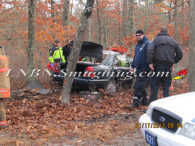Manorville F.D. Car into Woods  Schultz Rd 1-17-12
