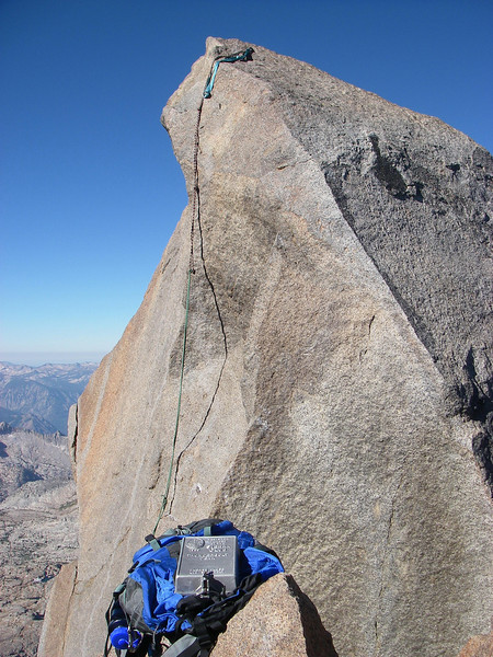 Thunderbolt Peak is one of the hardest of the California fourteeners to climb. It was the last one to be climbed (August 1931). None of the routes are easy and the summit block - where the register is placed is rated - 5.8-5.9. It has beautiful and difficult summit monolith