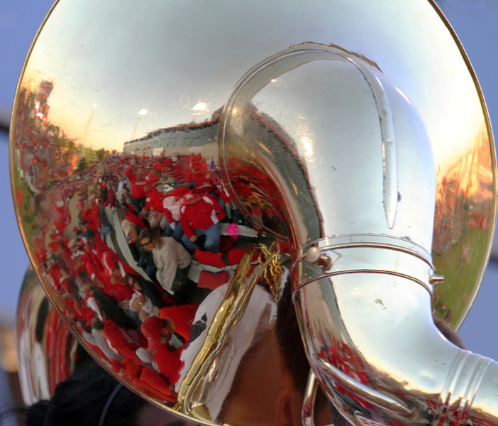 UH fans reflected in a tuba bell