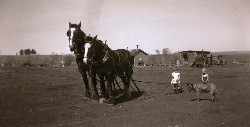Caroline & Carl at Albert & Elsie homestead, Grande Prairie 1947.  AWH