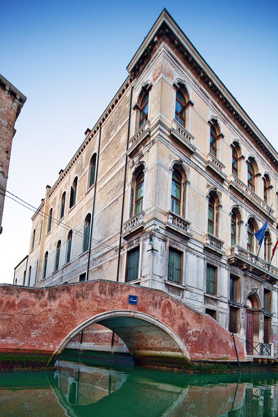 View of a building from a gondola, Fondamenta Diedo, Cannaregio, Venice, Italy