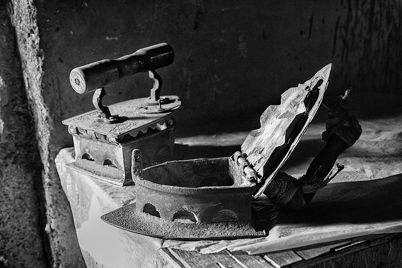 Old irons at Dhobi Ghat