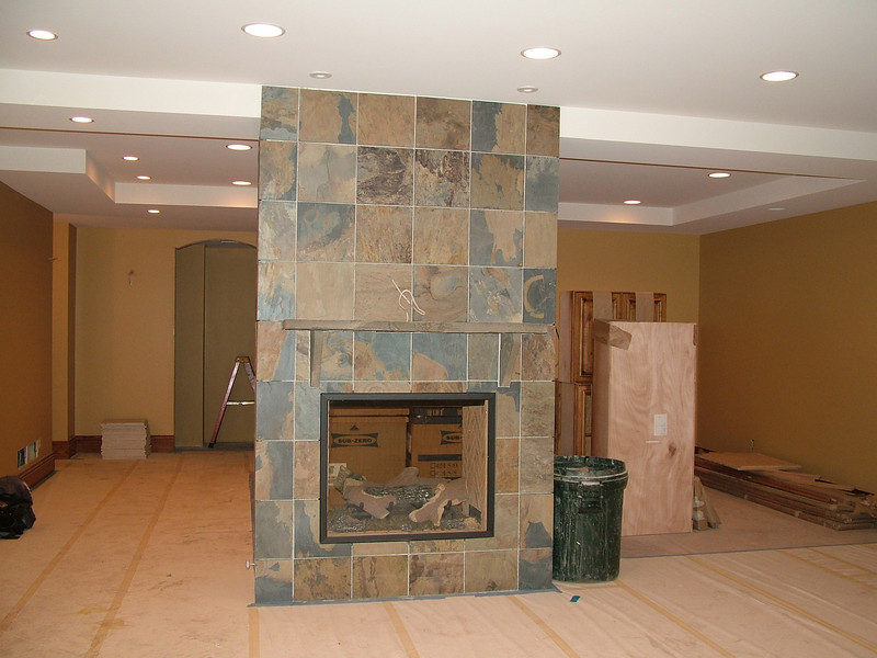 Family room fireplace (stairway in background)