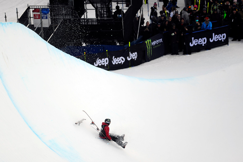 . ASPEN, CO. - JANUARY 25:  Gus Kenworthy takes a fall on his last run at the Ski Superpipe Men\'s Finals at Winter X Games 2015, Sunday, January 25.  (Photo By Mahala Gaylord/The Denver Post)