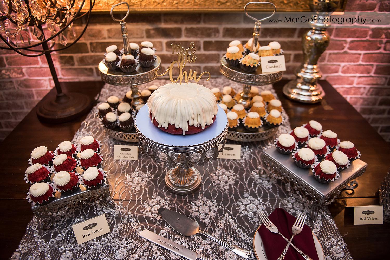 wedding cake at sweets table at Sunol's Casa Bella wedding reception
