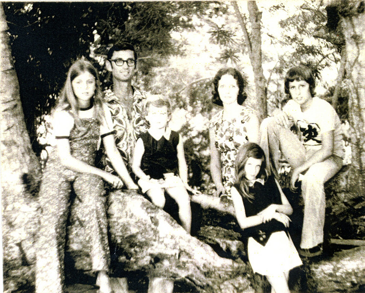 1974 - Fuller family portrait made in front yard of their house situated on the Zaire River. L-R: Kim, Millard, Georgia, Linda, Faith and Chris.