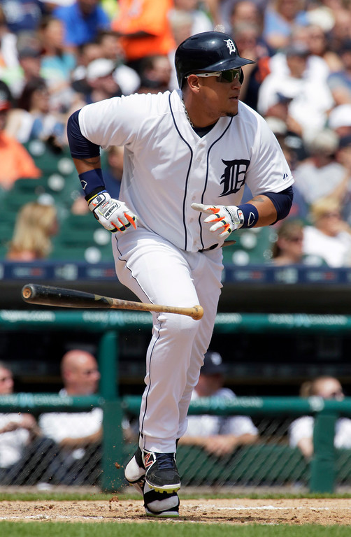 . Detroit Tigers\' Miguel Cabrera singles in the sixth inning to drive in Anthony Gose against the Oakland Athletics during a baseball game Thursday, June 4, 2015, in Detroit. The Athletics defeated the Tigers 7-5. (AP Photo/Duane Burleson)